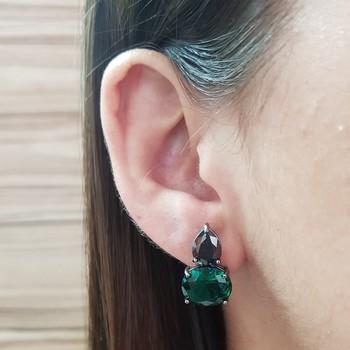 Brinco Semi Joia Pequeno Ródio Negro Verde