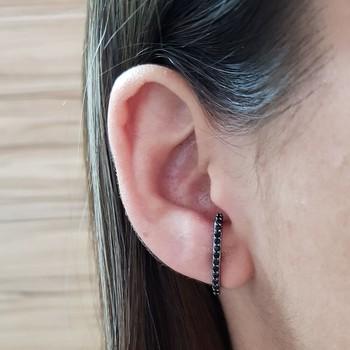 Brinco Semi Joia Ear Hook Pequeno Ródio Negro Pret...