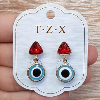 Brinco Pequeno Olho Grego Dourado Vermelho