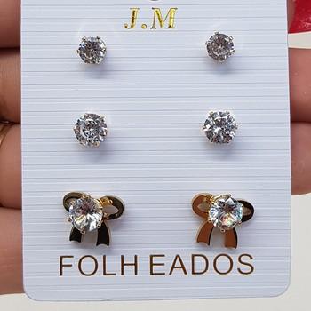 Kit De Brincos Pequenos Zircônia Laço Dourada