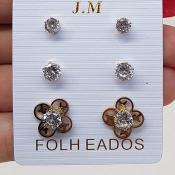 Kit De Brincos Pequenos Zircônia Dourado