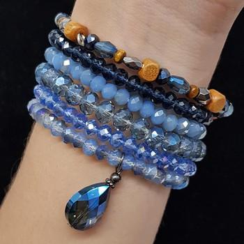 Kit De Pulseiras Cristal Azul