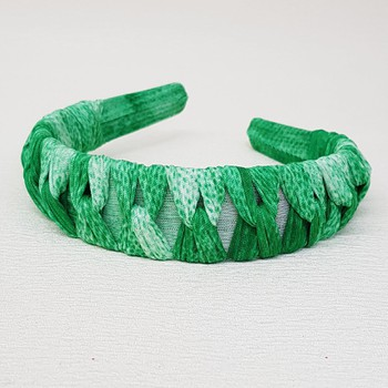 Tiara Macramê Verde Rajado