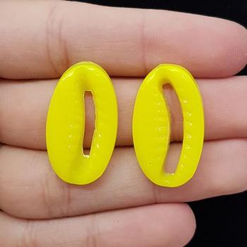 Brinco Acrílico Búzios Amarelo Neon