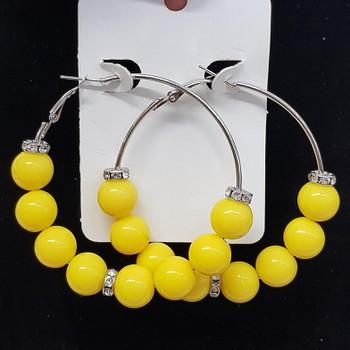 Argola Esferas Amarelo