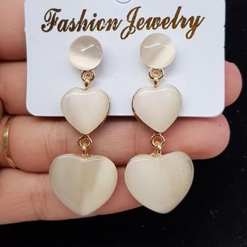 Brinco Coração Dourado Branco