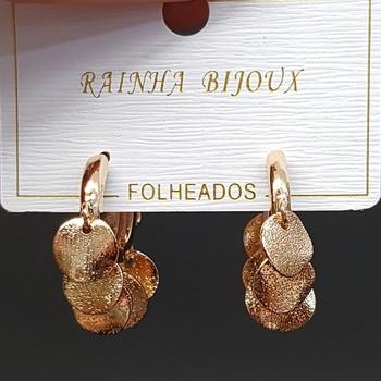 Mini Argola Círculos Texturizados Dourado