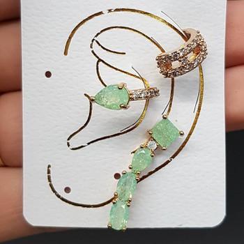 Kit De Brinco e Piercings Fakes Gota Dourado Verde