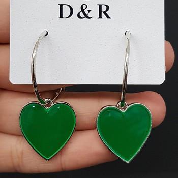 Argola Coração Esmaltado Prata Verde