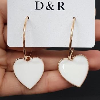 Argola Coração Esmaltado Dourado Branco