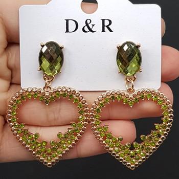 Brinco Coração Dourado Verde