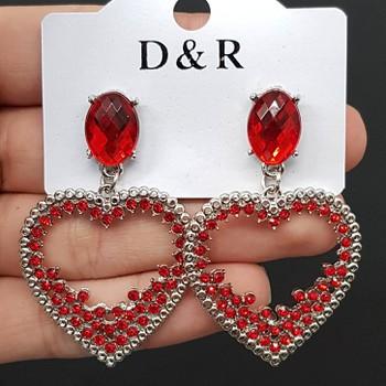 Brinco Coração Prata Vermelho