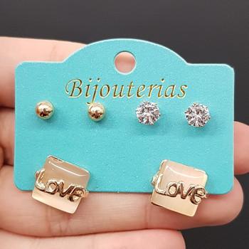 Kit De Brincos Love Dourado