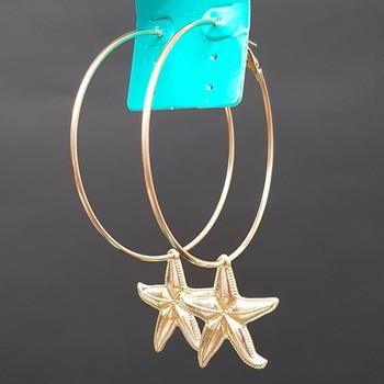 Argola Folheada Dourada Estrela Do Mar