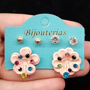 Kit De Brincos Flor Rosa
