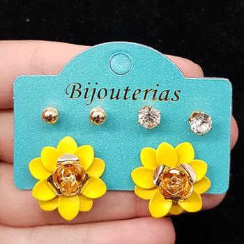 Kit De Brincos Flor Amarelo