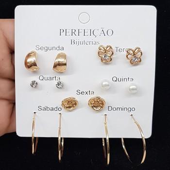 Kit De Brincos Dias Da Semana Borboleta Dourado