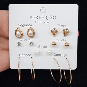 Kit De Brincos Dias Da Semana Gota Dourado