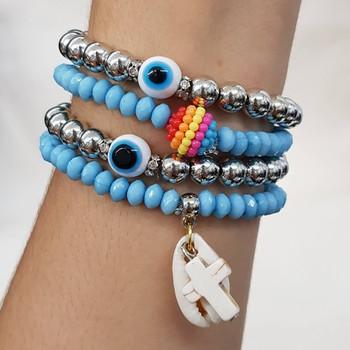 Kit De Pulseiras Olho Grego Azul Claro