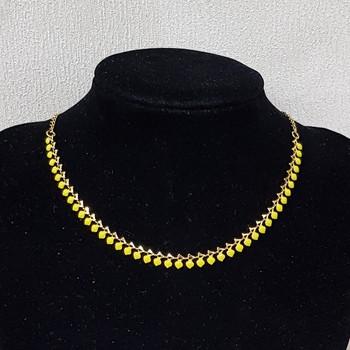 Colar Folheado Dourado Mini Coração Amarelo