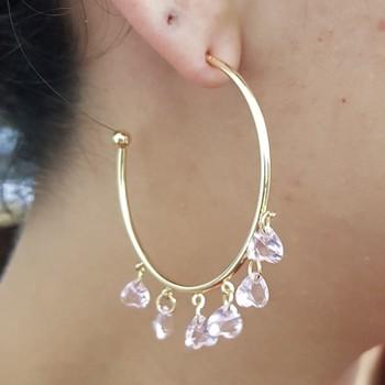 Argola Pingentes Dourado Rosa