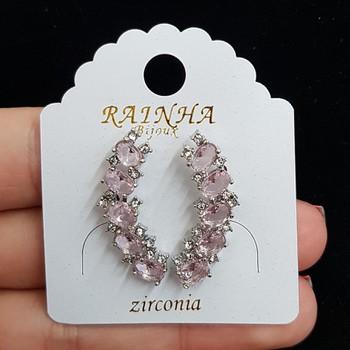 Brinco Zircônia Prata Rosa