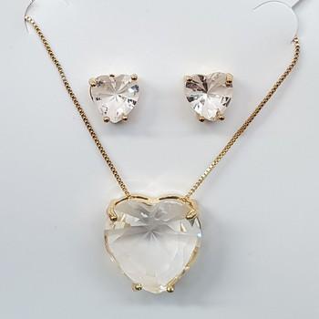 Conjunto Zircônia Coração Dourado Branco