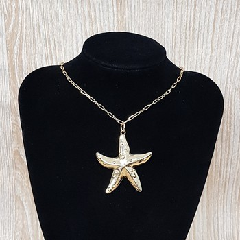 Colar Folheado Dourado Estrela Do Mar