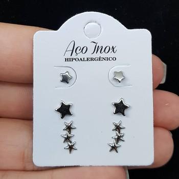 Kit De Mini Brincos Folhedos Prata Estrela