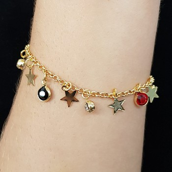 Pulseira Folheada Dourada Estrelas