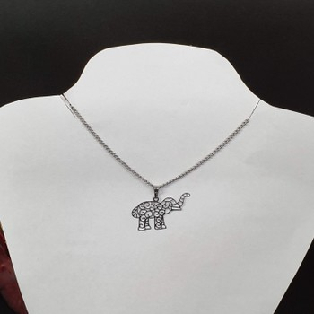 Colar Folheado Prata Elefante