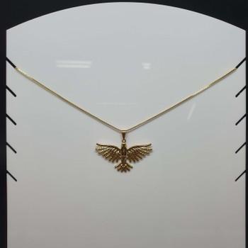 Colar Folheado Dourado Pássaro