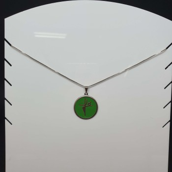 Colar Folheado Prata Fé Esmaltado Verde