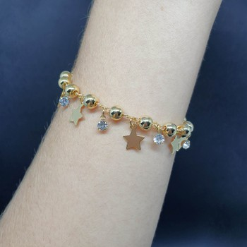 Pulseira Folheada Dourado Estrelas