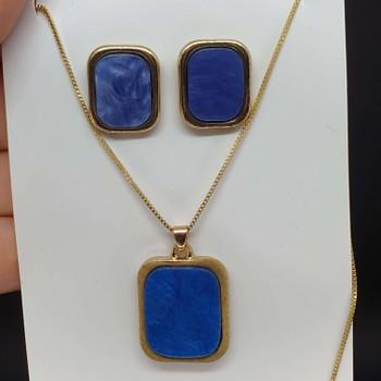 Conjunto Retângulo Dourado Mesclado Azul Escuro