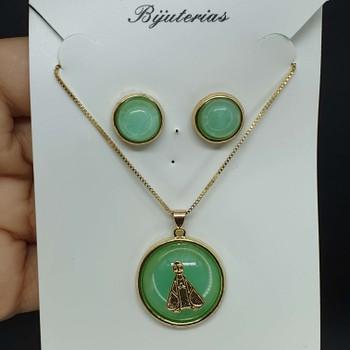 Conjunto Nossa Senhora Aparecida Dourado Verde