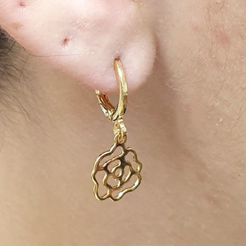 Mini Argola Folheada Dourado Flor