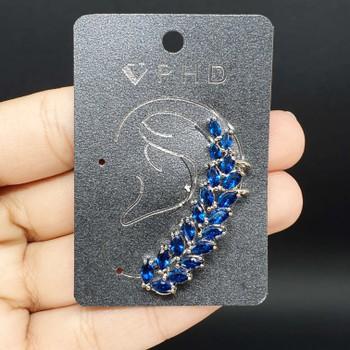 Brinco Ear Cuff Zircônia Prata Azul