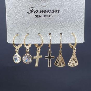 Kit De Mini Argolas Religioso Dourado