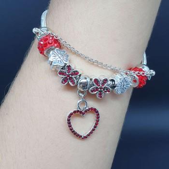 Pulseira Pandora Coração Prata Vermelho