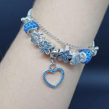 Pulseira Pandora Coração Prata Azul
