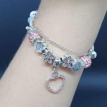 Pulseira Pandora Coração Prata Rosa