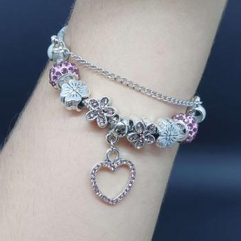 Pulseira Pandora Coração Prata Lilás