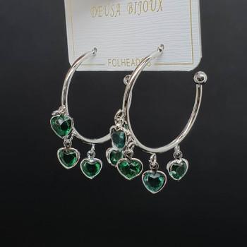 Argola Coração Prata Verde e Azul