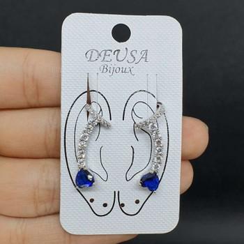 Brinco Ear Cuff Zircônia Prata Azul Marinho