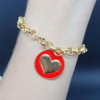 Pulseira Folheada Dourada Coração Esmaltado Vermel...