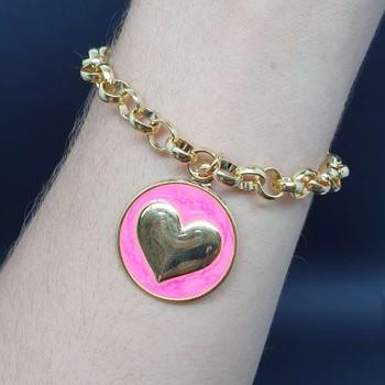 Pulseira Folheada Dourada Coração Esmaltado Rosa