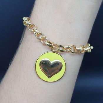Pulseira Folheada Dourada Coração Esmaltado Amarel...