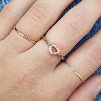 Kit De Anéis Zircônia Coração Dourado