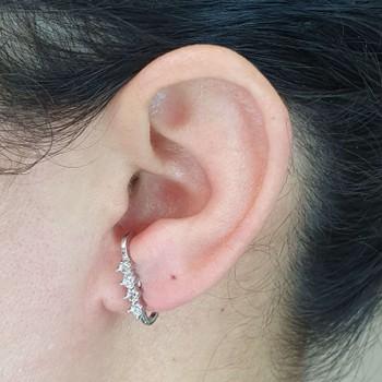 Brinco Ear Hook Semi Joia Ródio